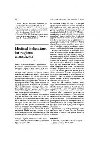 Medical indications for regional anaesthesia