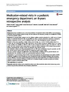 Medication-related visits in a pediatric emergency department: an 8-years retrospective analysis