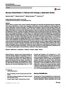 Memory Rehabilitation in Patients with Epilepsy: a Systematic Review