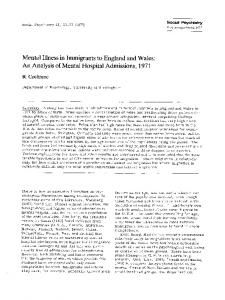 Mental illness in immigrants to England and Wales: An analysis of mental hospital admissions, 1971