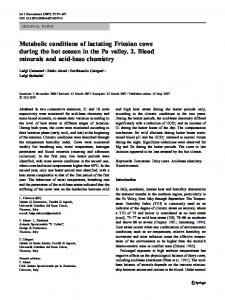 Metabolic conditions of lactating Friesian cows during the hot season in the Po valley. 2. Blood minerals and acid-base chemistry