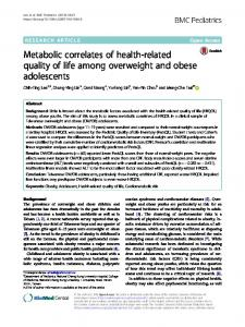 Metabolic correlates of health-related quality of life among overweight and obese adolescents