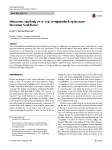 Metacontrol and body ownership: divergent thinking increases the virtual hand illusion