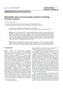 Metastable state and macroscopic quantum tunneling of binary mixtures