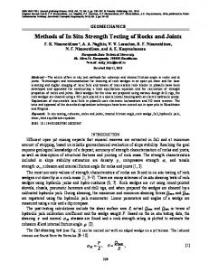 Methods of in situ strength testing of rocks and joints
