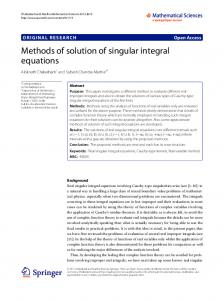 Methods of solution of singular integral equations