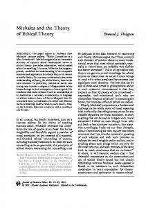 Michalos and the Theory of Ethical Theory