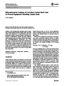 Microstructural Analysis of Corroded Carbon Steel Used in Process Equipment Handling Caustic Soda