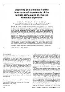 Modelling and simulation of the intervertebral movements of the lumbar spine using an inverse kinematic algorithm