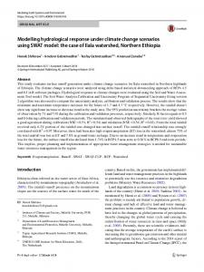 Modelling hydrological response under climate change scenarios using SWAT model: the case of Ilala watershed, Northern Ethiopia