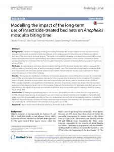 Modelling the impact of the long-term use of insecticide-treated bed nets on Anopheles mosquito biting time