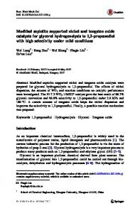 Modified sepiolite supported nickel and tungsten oxide catalysts for glycerol hydrogenolysis to 1,2-propanediol with high selectivity under mild conditions