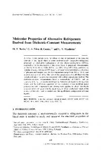 Molecular properties of alternative refrigerants derived from dielectric-constant measurements