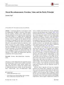 Moral Bio-enhancement, Freedom, Value and the Parity Principle