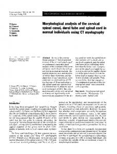 Morphological analysis of the cervical spinal canal, dural tube and spinal cord in normal individuals using CT myelography