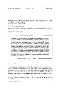 Multidimensional perturbation theory, the field theory limit and vacuum tunnelling