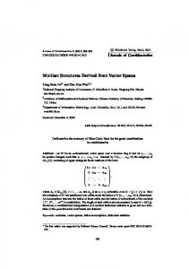 Multiset Structures Derived from Vector Spaces