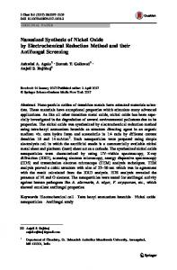 Nanosized Synthesis of Nickel Oxide by Electrochemical Reduction Method and their Antifungal Screening