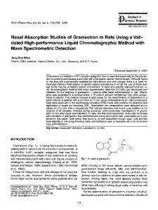 Nasal absorption studies of granisetron in rats using a validated high-performance liquid chromatographic method with mass spectrometric detection