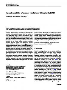 Natural variability of summer rainfall over China in HadCM3