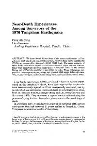 Near-death experiences among survivors of the 1976 Tangshan earthquake