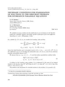 Necessary Conditions for Stabilization of Solutions to the Dirichlet Problem for Divergence Parabolic Equations