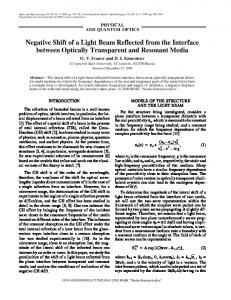 Negative shift of a light beam reflected from the interface between optically transparent and resonant media