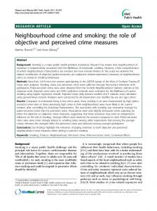 Neighbourhood crime and smoking: the role of objective and perceived crime measures