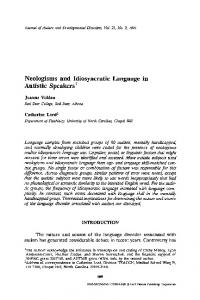Neologisms and idiosyncratic language in autistic speakers