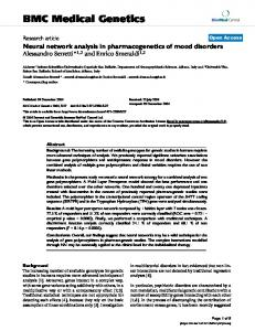 Neural network analysis in pharmacogenetics of mood disorders