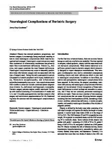 Neurological Complications of Bariatric Surgery