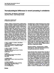 Neurophysiological differences in reward processing in anhedonics
