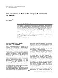New Approaches to the Genetic Analysis of Neuroticism and Anxiety