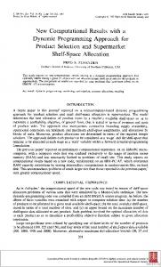 New Computational Results with a Dynamic Programming Approach for Product Selection and Supermarket Shelf-Space Allocation