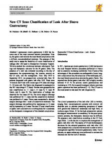 New CT Scan Classification of Leak After Sleeve Gastrectomy