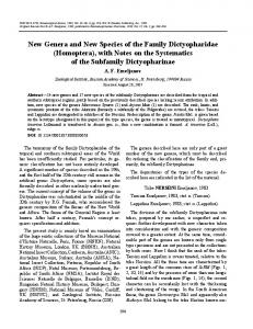 New genera and new species of the family Dictyopharidae (Homoptera), with notes on the systematics of the subfamily Dictyopharinae