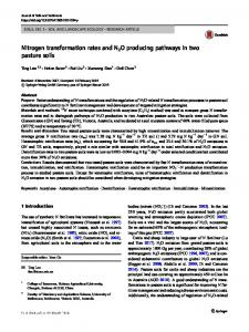 Nitrogen transformation rates and N2O producing pathways in two pasture soils