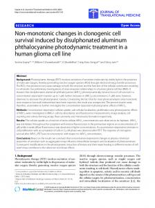 Non-monotonic changes in clonogenic cell survival induced by disulphonated aluminum phthalocyanine photodynamic treatment in a human glioma cell line