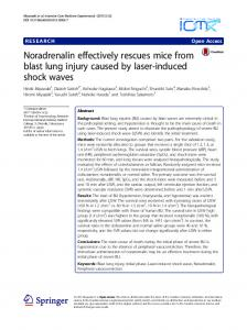 Noradrenalin effectively rescues mice from blast lung injury caused by laser-induced shock waves