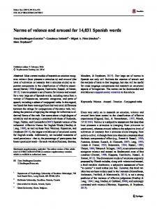 Norms of valence and arousal for 14,031 Spanish words