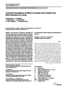 Numerical Investigation of Mixed Convection Heat Transfer from Block Mounted on a Cavity