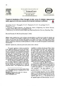 Numerical simulation of flow through circular array of cylinders using porous media approach with non-constant local inertial resistance coefficient