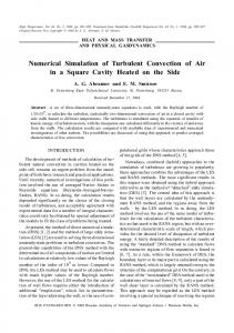 Numerical simulation of turbulent convection of air in a square cavity heated on the side