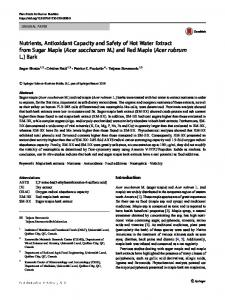Nutrients, Antioxidant Capacity and Safety of Hot Water Extract from Sugar Maple (Acer saccharum M.) and Red Maple (Acer rubrum L.) Bark