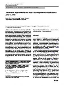 Nutritional requirements and media development for Lactococcus lactis IL1403