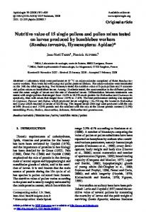 Nutritive value of 15 single pollens and pollen mixes tested on larvae produced by bumblebee workers (Bombus terrestris, Hymenoptera: Apidae)