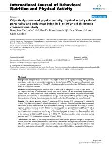 Objectively measured physical activity, physical activity related personality and body mass index in 6- to 10-yr-old children: a cross-sectional study