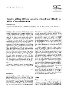 Occipital midline EEG and subjective rating of task difficulty as indices of mental task strain