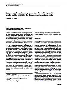 Occurrence of uranium in groundwater of a shallow granitic aquifer and its suitability for domestic use in southern India