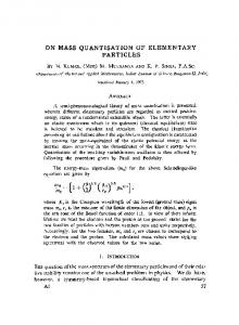On mass quantisation of elementary particles